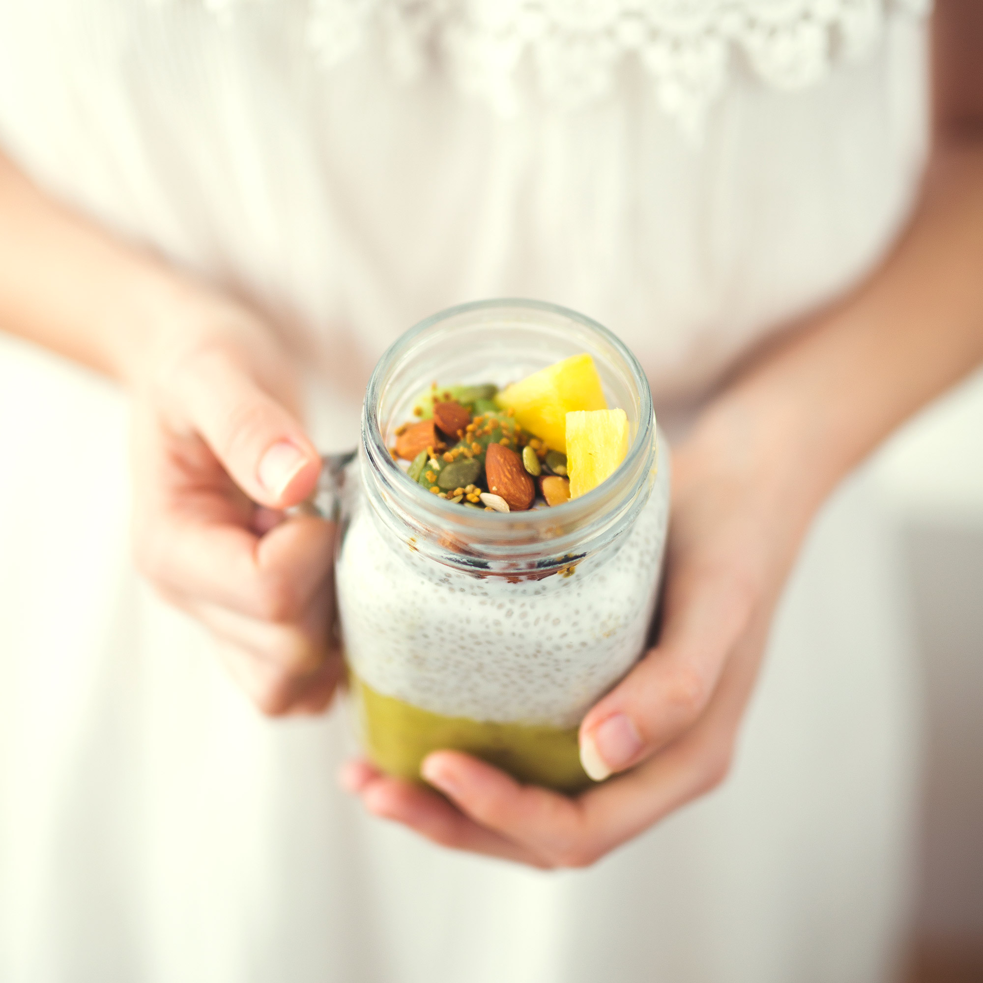 Kiwi, Pineapple and Coconut Tropical Chia Pudding