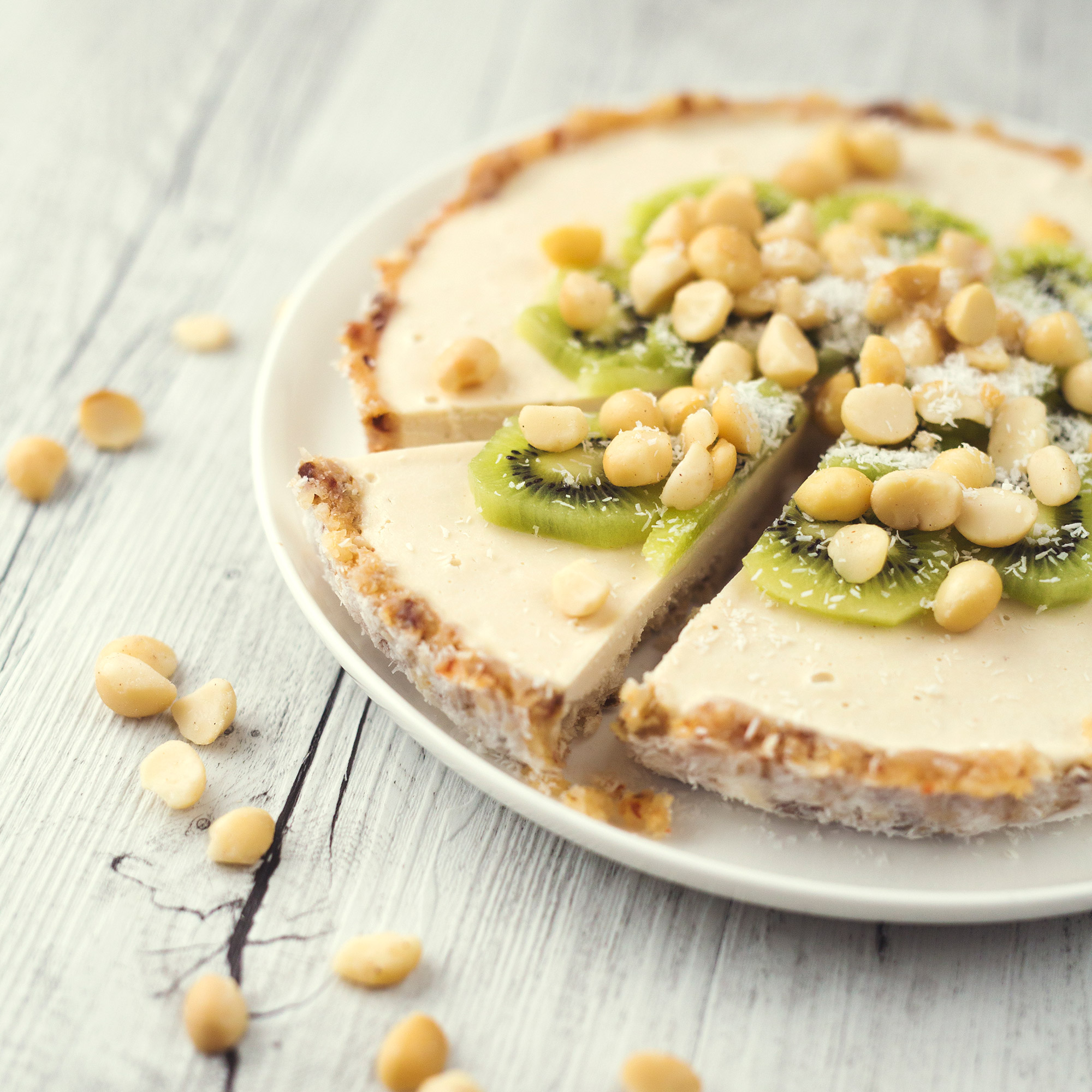 Summer Kiwi and Macadamia Raw Vegan Tart