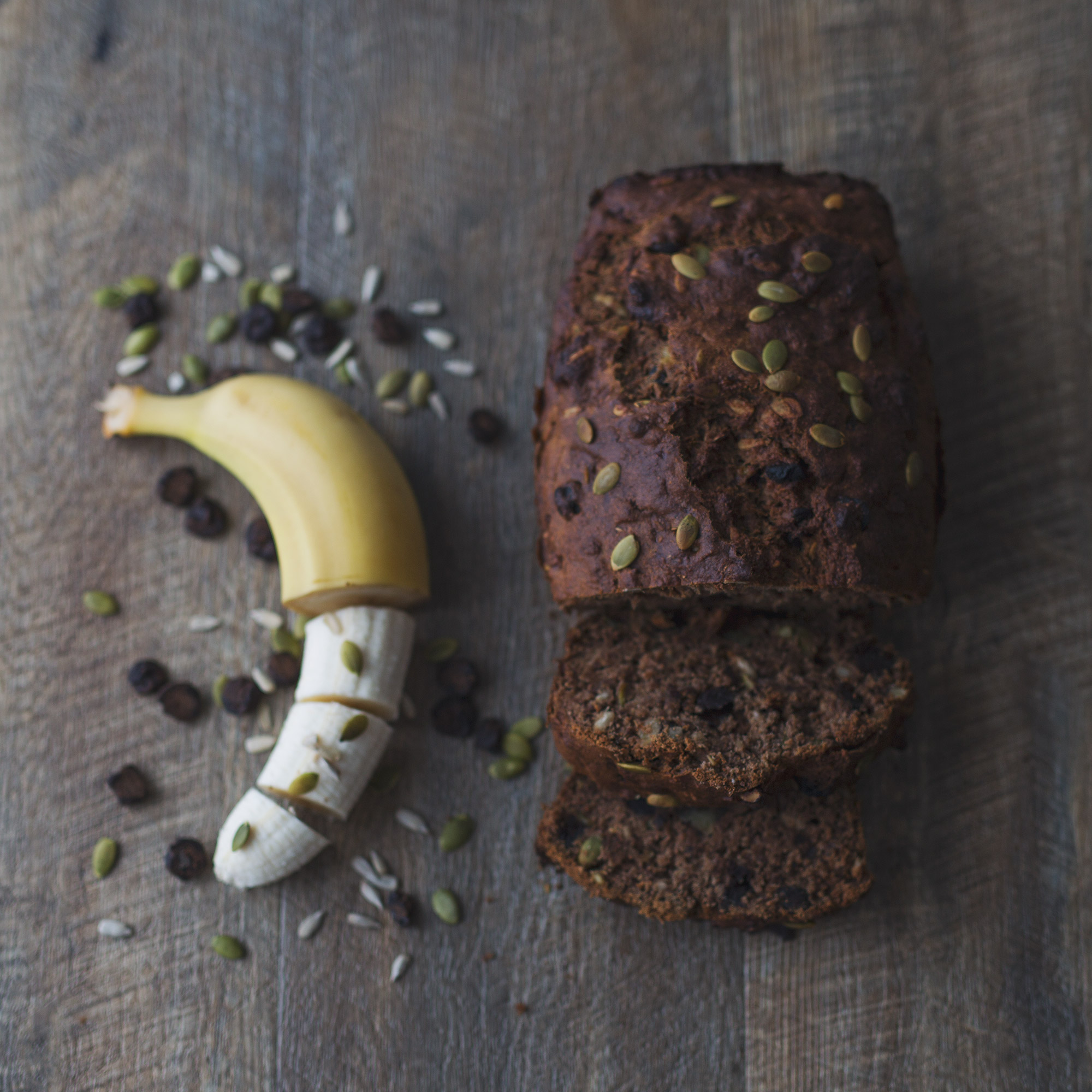 Roasted Carob Banana Bread with Wholemeal Spelt Flour