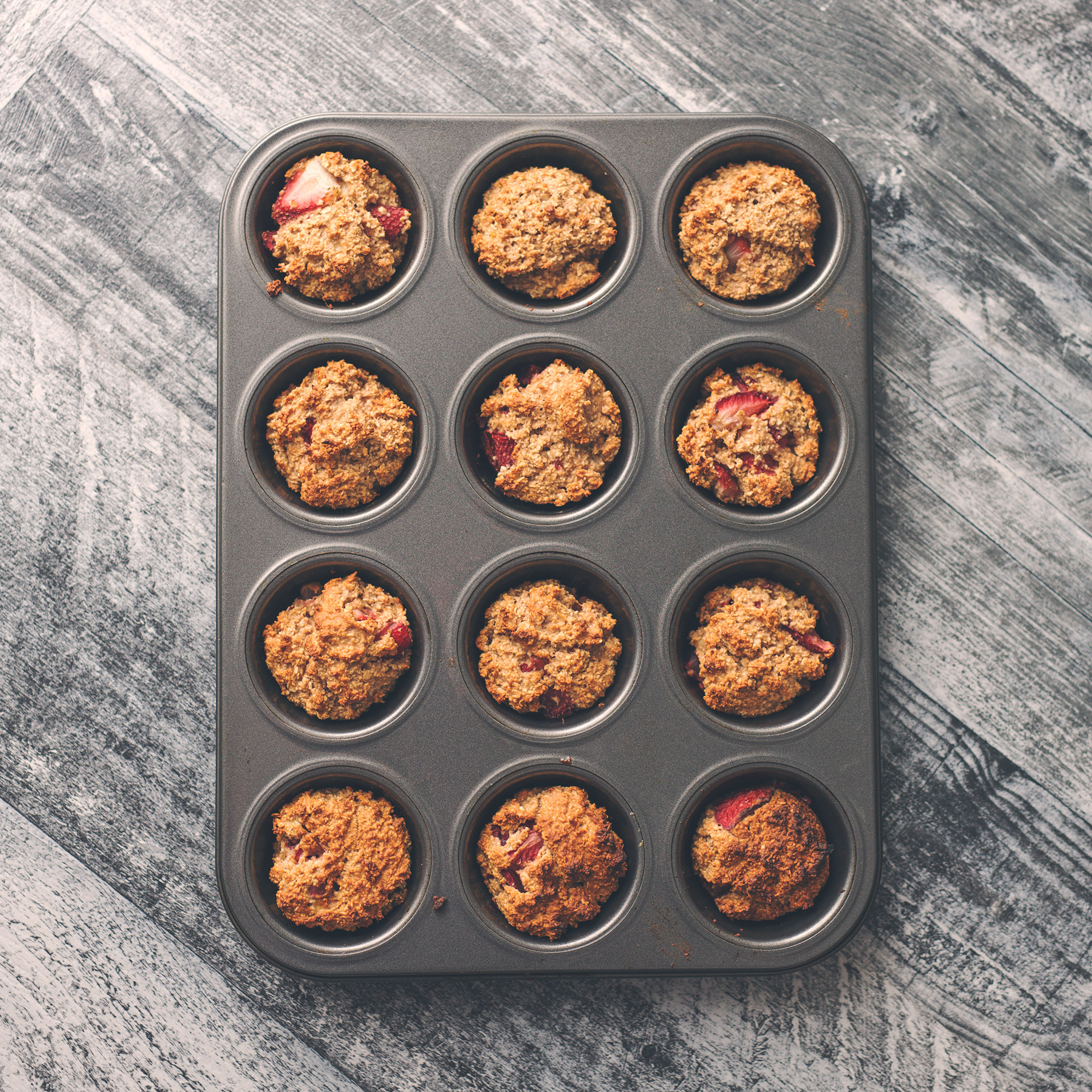 Vegan Strawberry Banana Mini Oat Muffins
