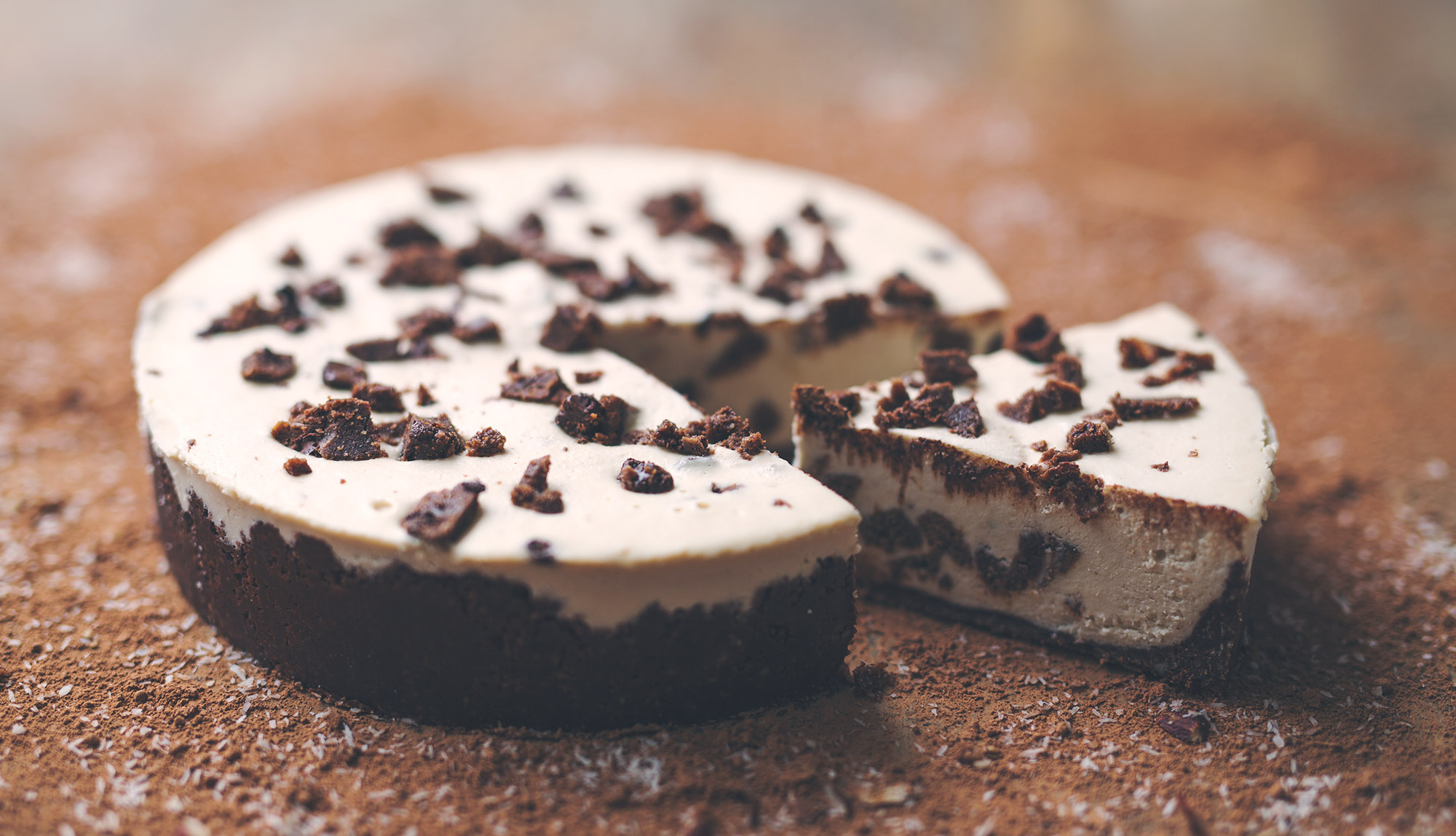 Mostly Raw Cookies and Cream Vegan Cheesecake