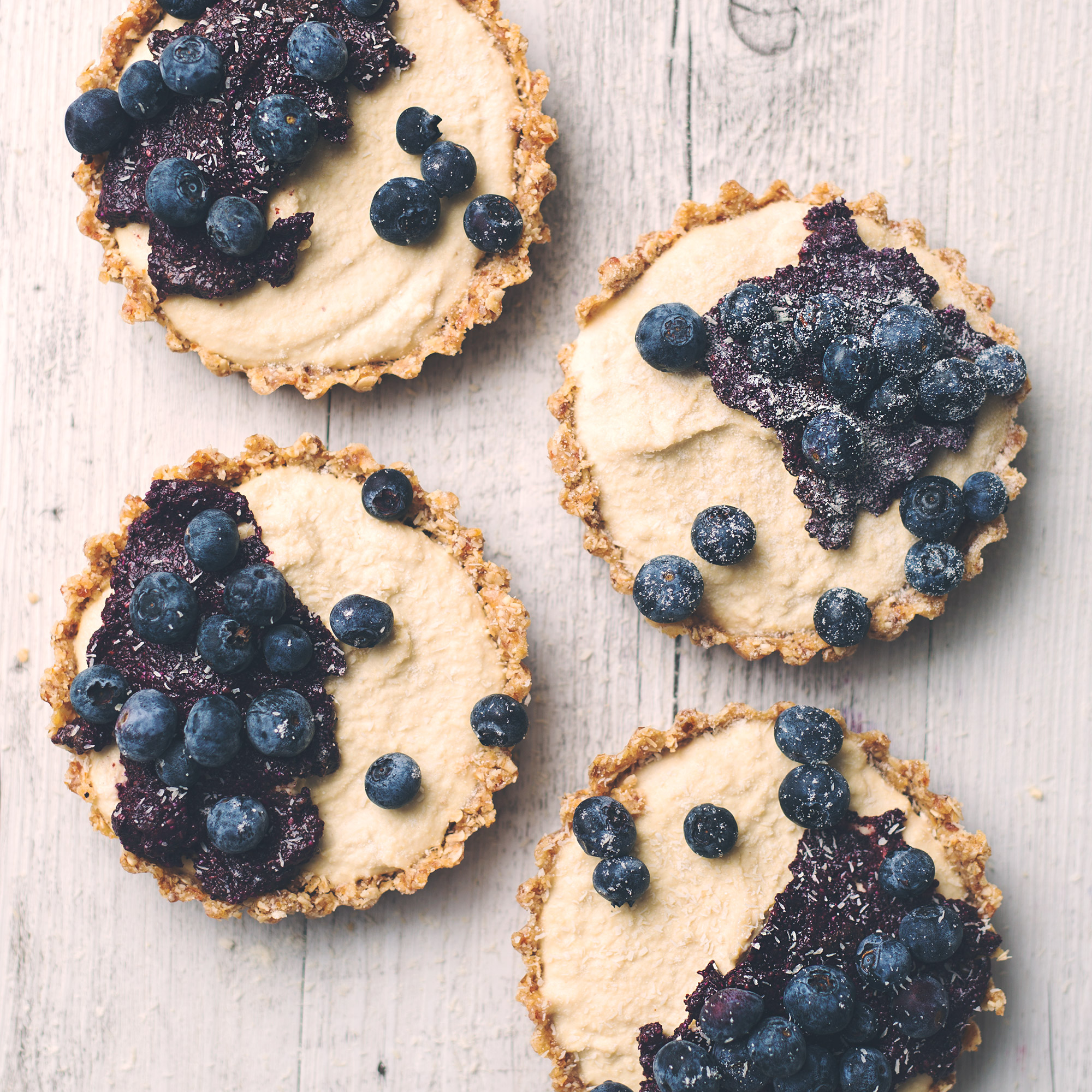 Raw Vegan Blueberry and Lemon Cheesecake Tarts with Blueberry Chia Jam