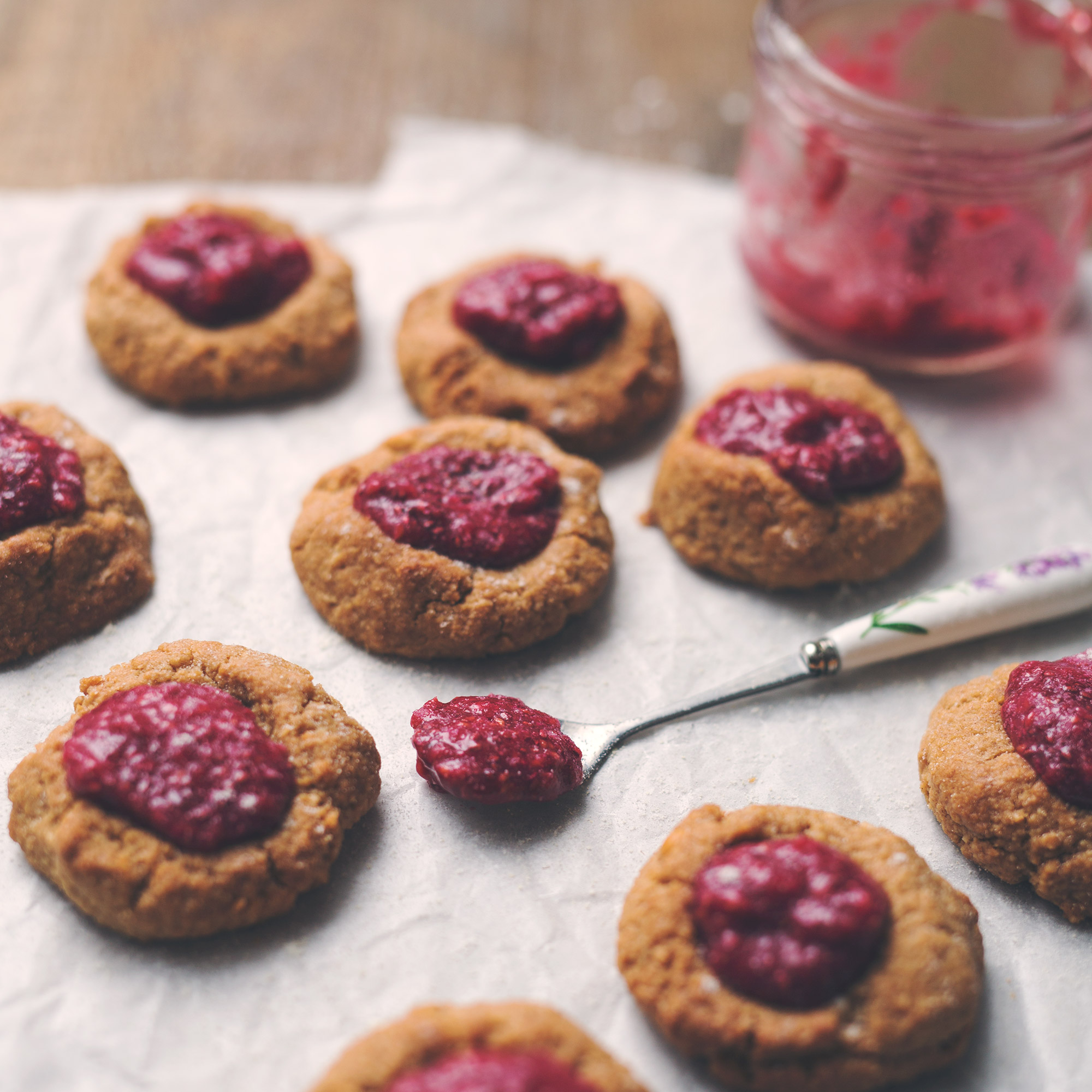 Peanut Butter & Jelly Thumbprint Cookies with Raspberry Chia Jam