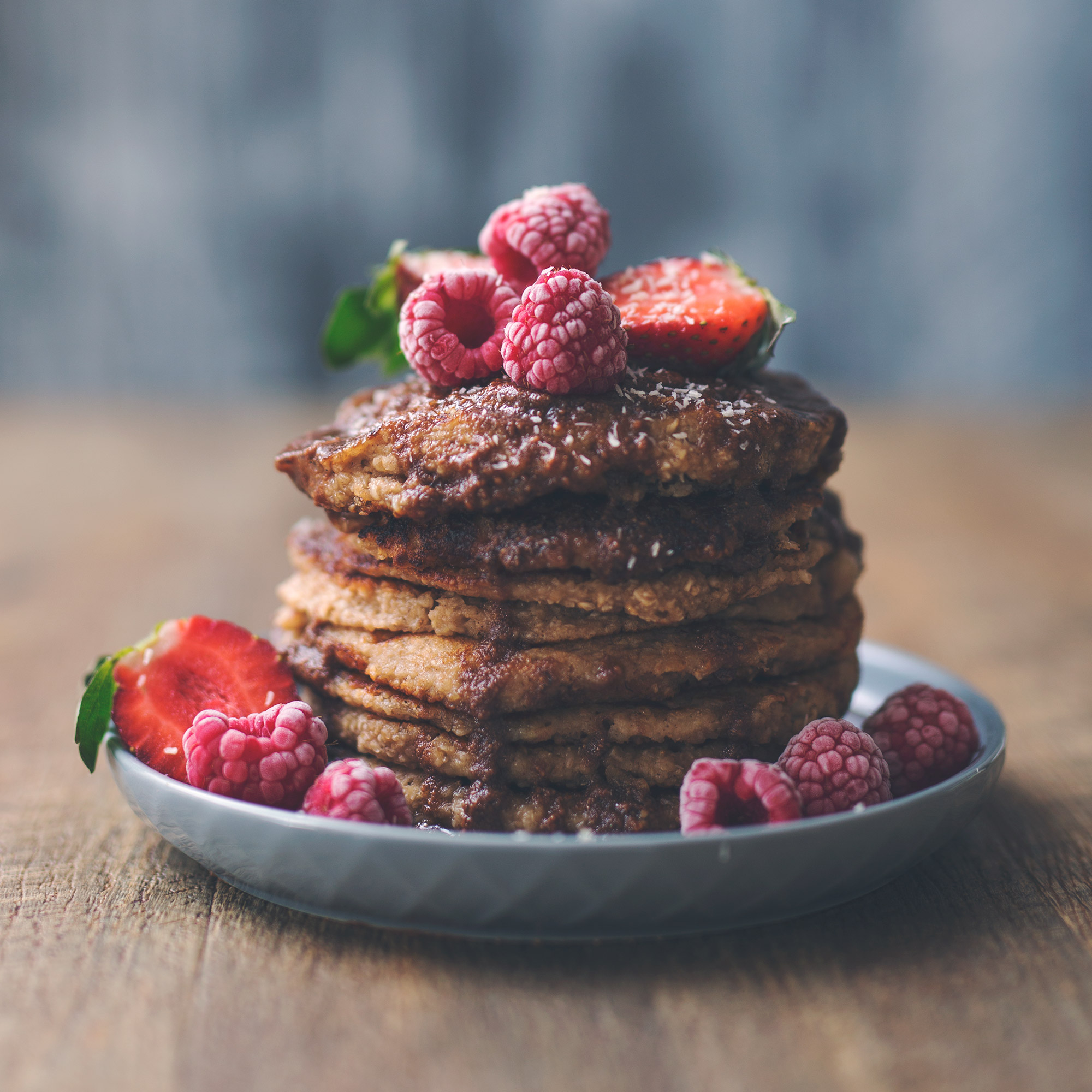 Vegan Oat Banana Pancakes with Chocolate Peanut Butter Sauce