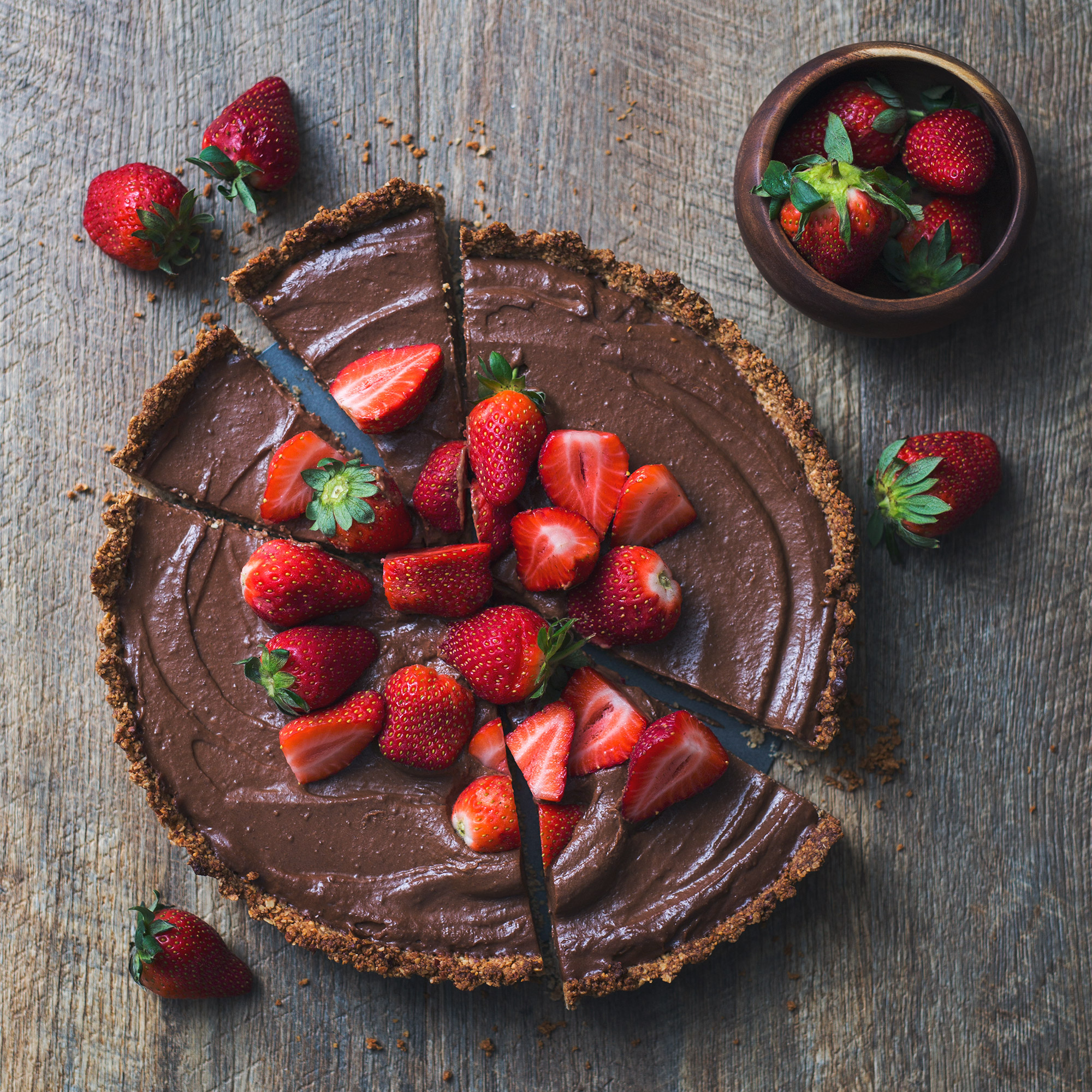 Vegan Chocolate and Strawberry Custard Tart