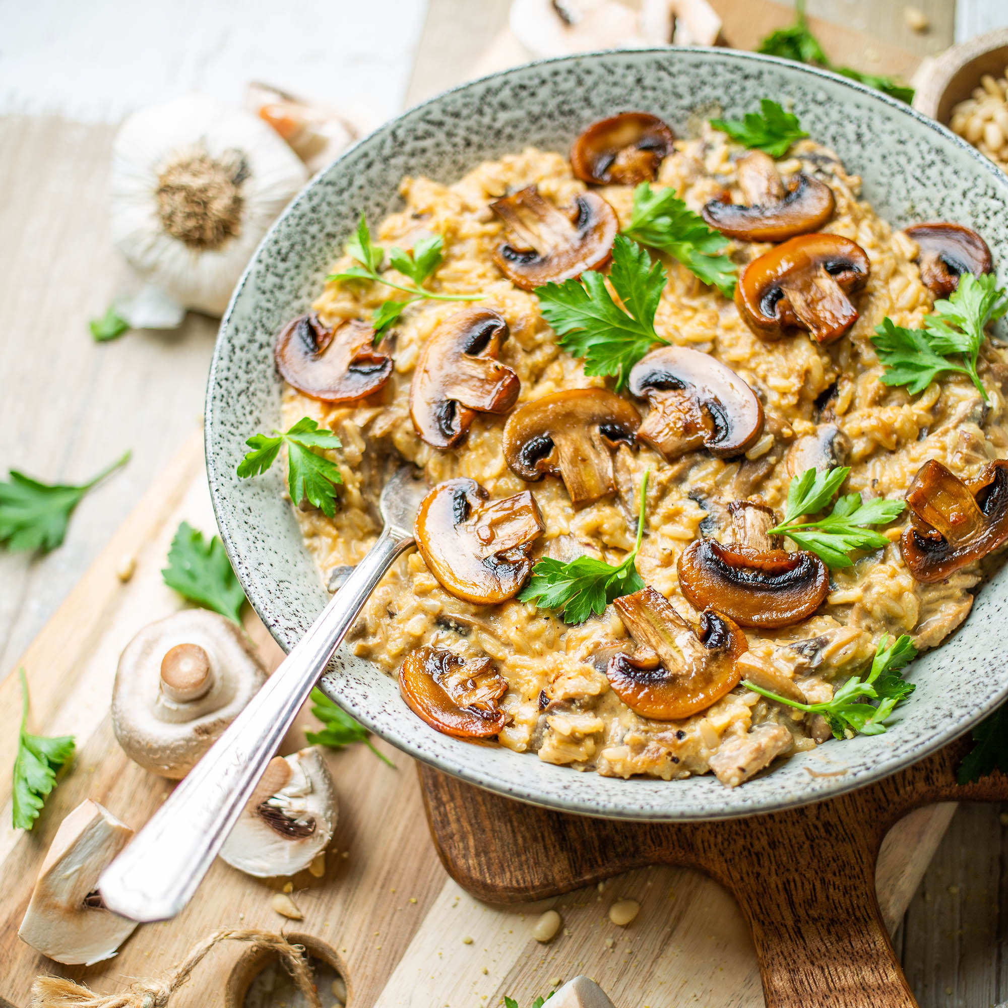 Vegan Mushroom Brown Rice Risotto