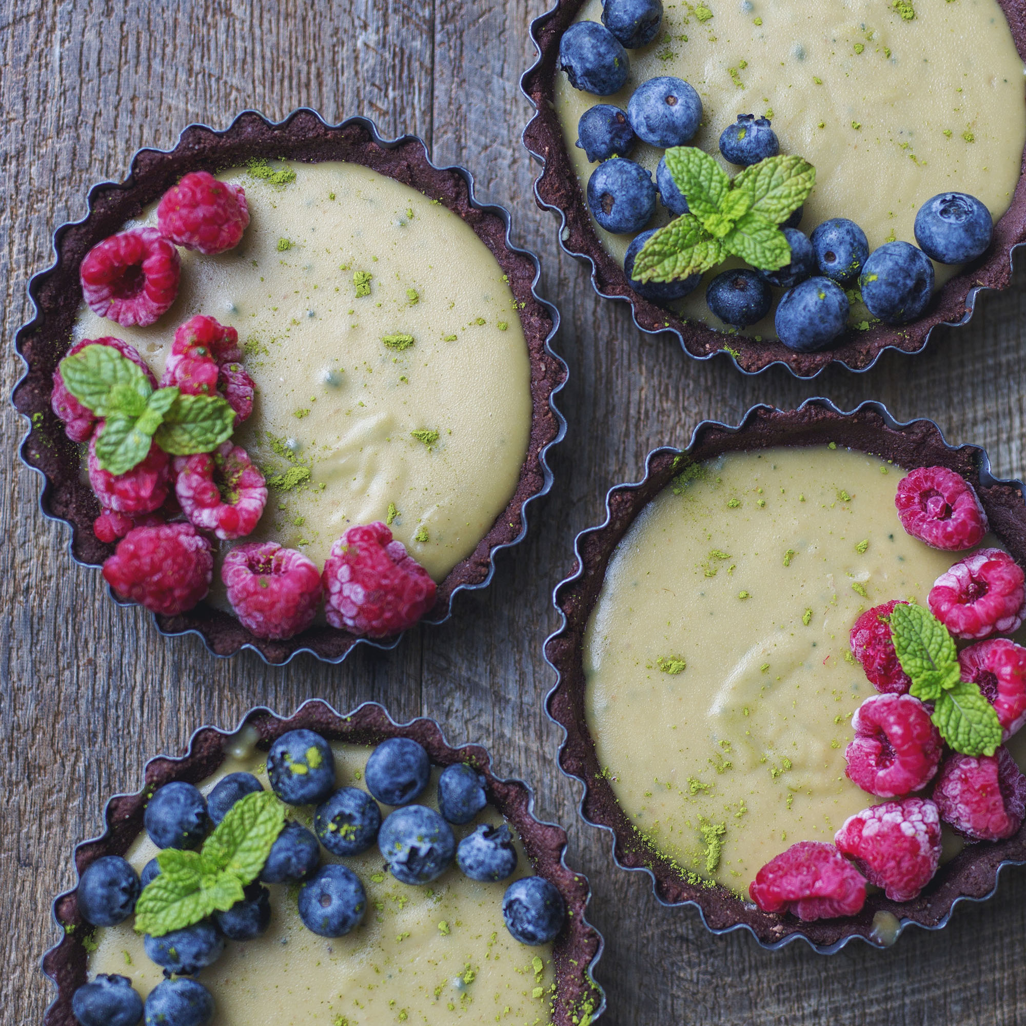 Raw Vegan Matcha Chocolate & Berry Tarts