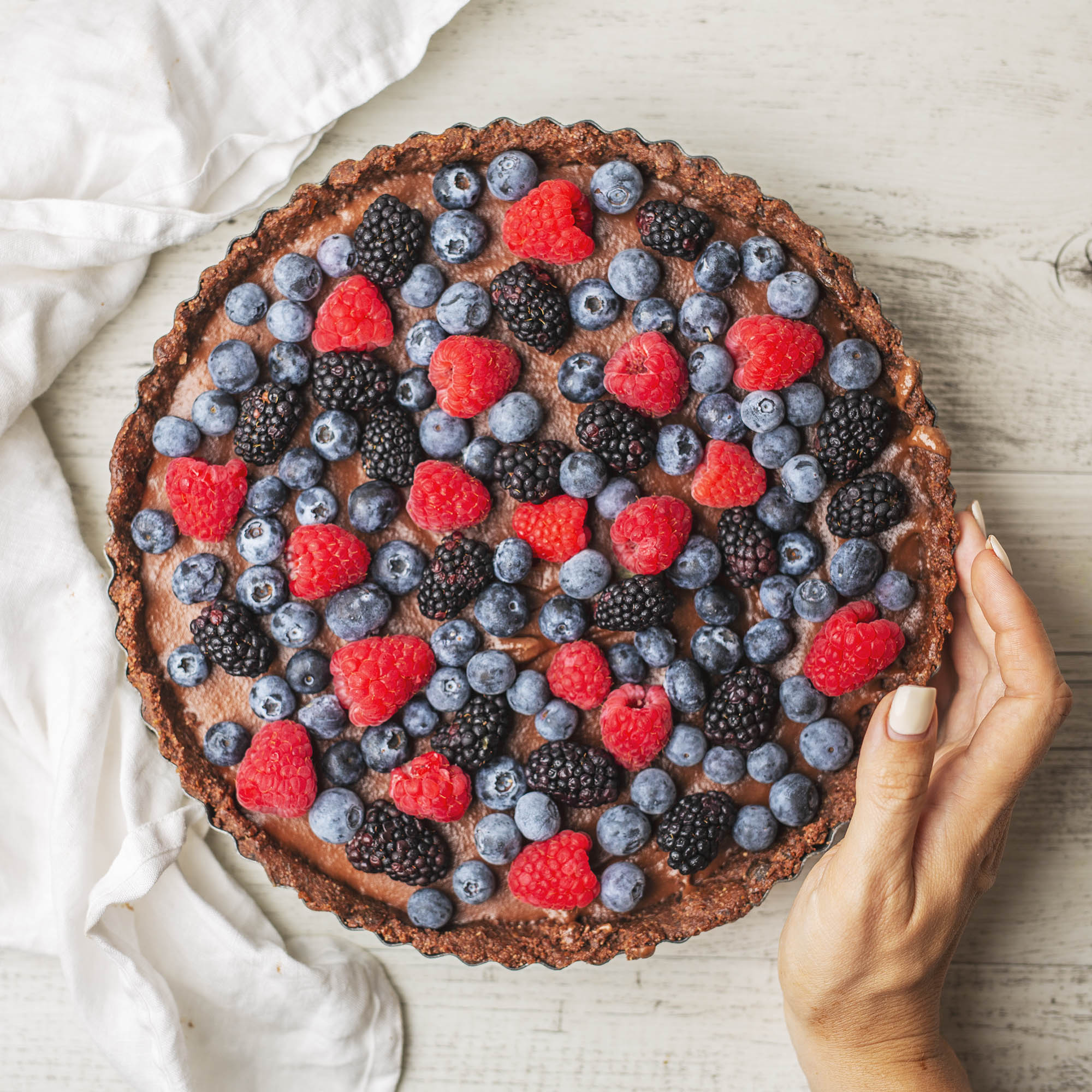 Raw Vegan Double Chocolate Berry Tart