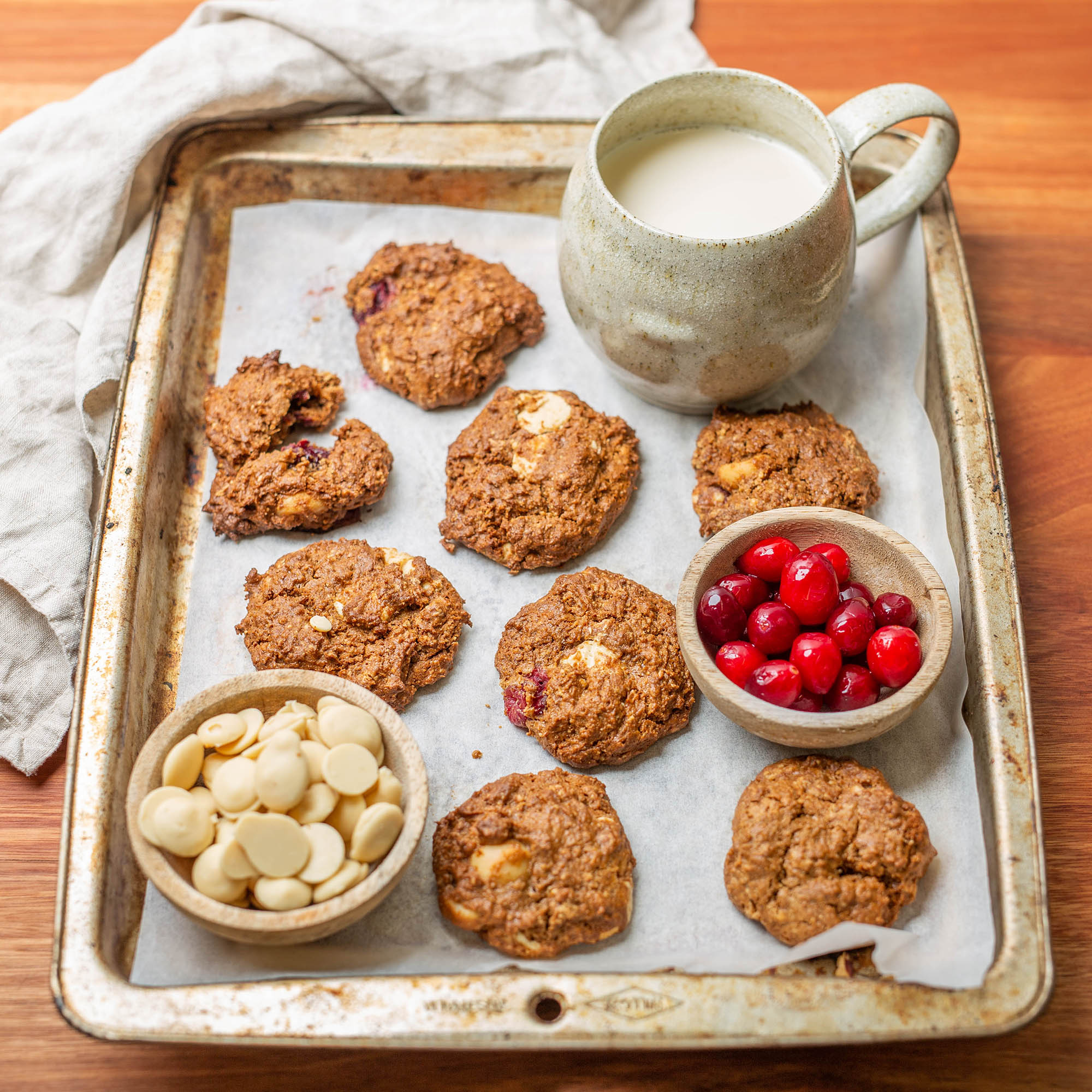 Easy Vegan Fudgy White Chocolate, Macadamia and Cranberry Cookies