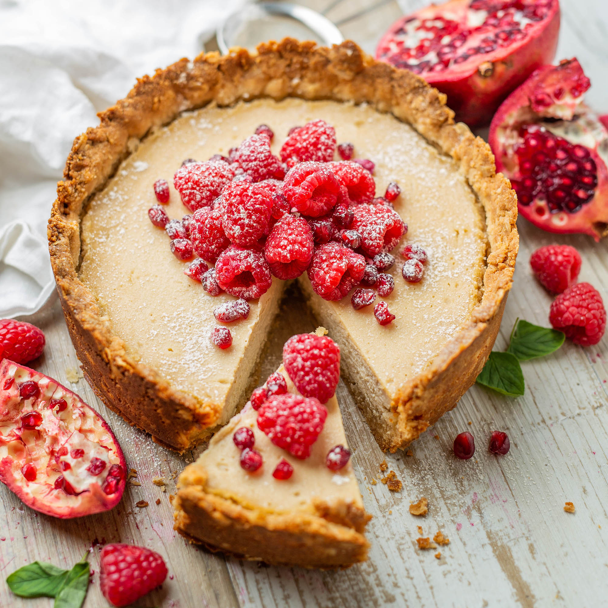 Vegan Baked Vanilla Cheesecake. No coconut
