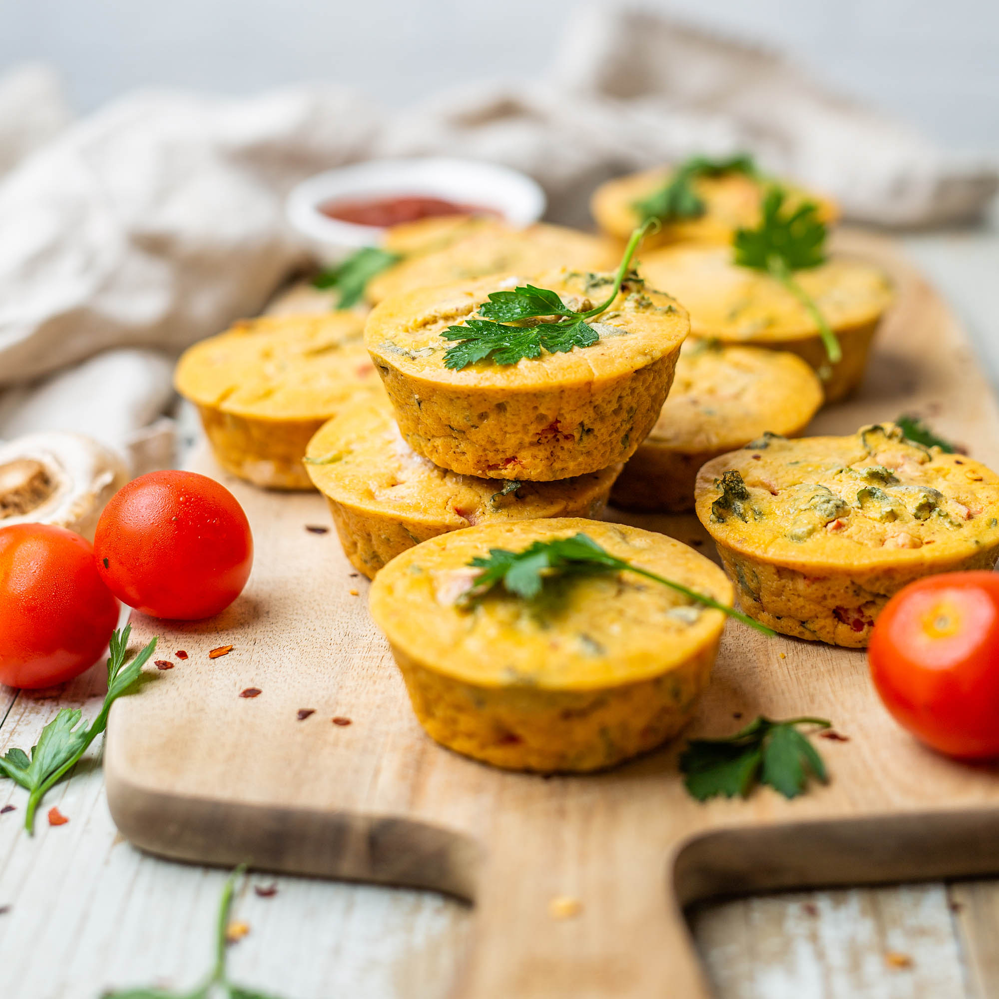 Kale Mushroom and Capsicum Vegan Egg Free Mini Frittatas made with Chickpea Flour
