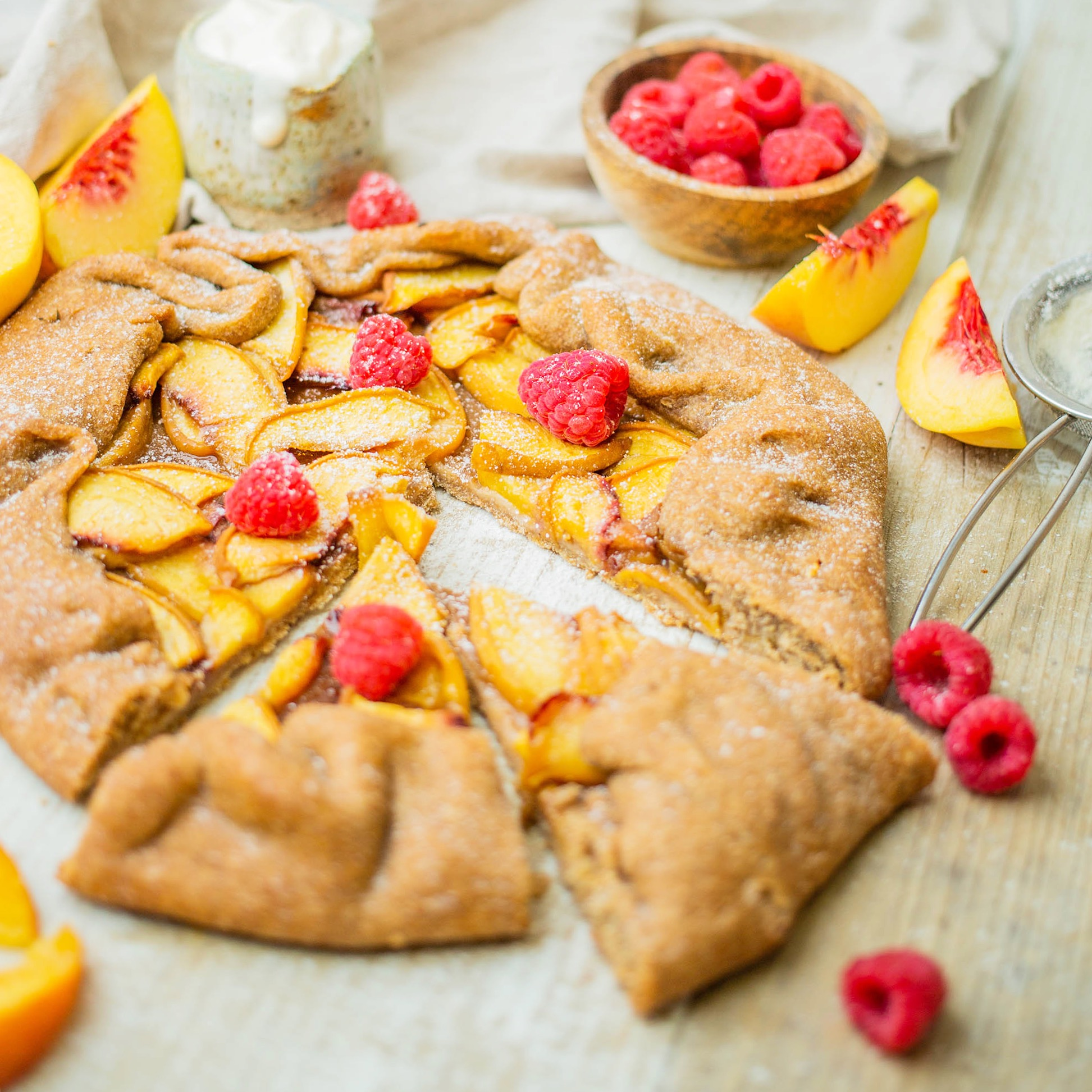 Vegan Peach Gallette with homemade spelt and buckwheat pastry