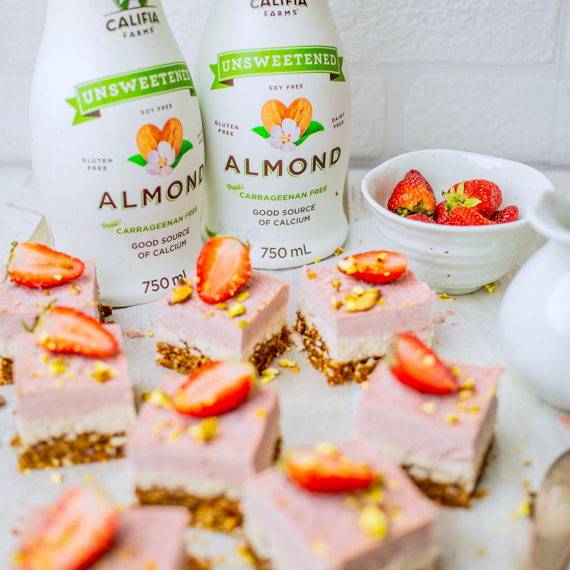Califia Farms Unsweetened Almond Milk Review with Vegan White Chocolate Strawbery Slice Recipe