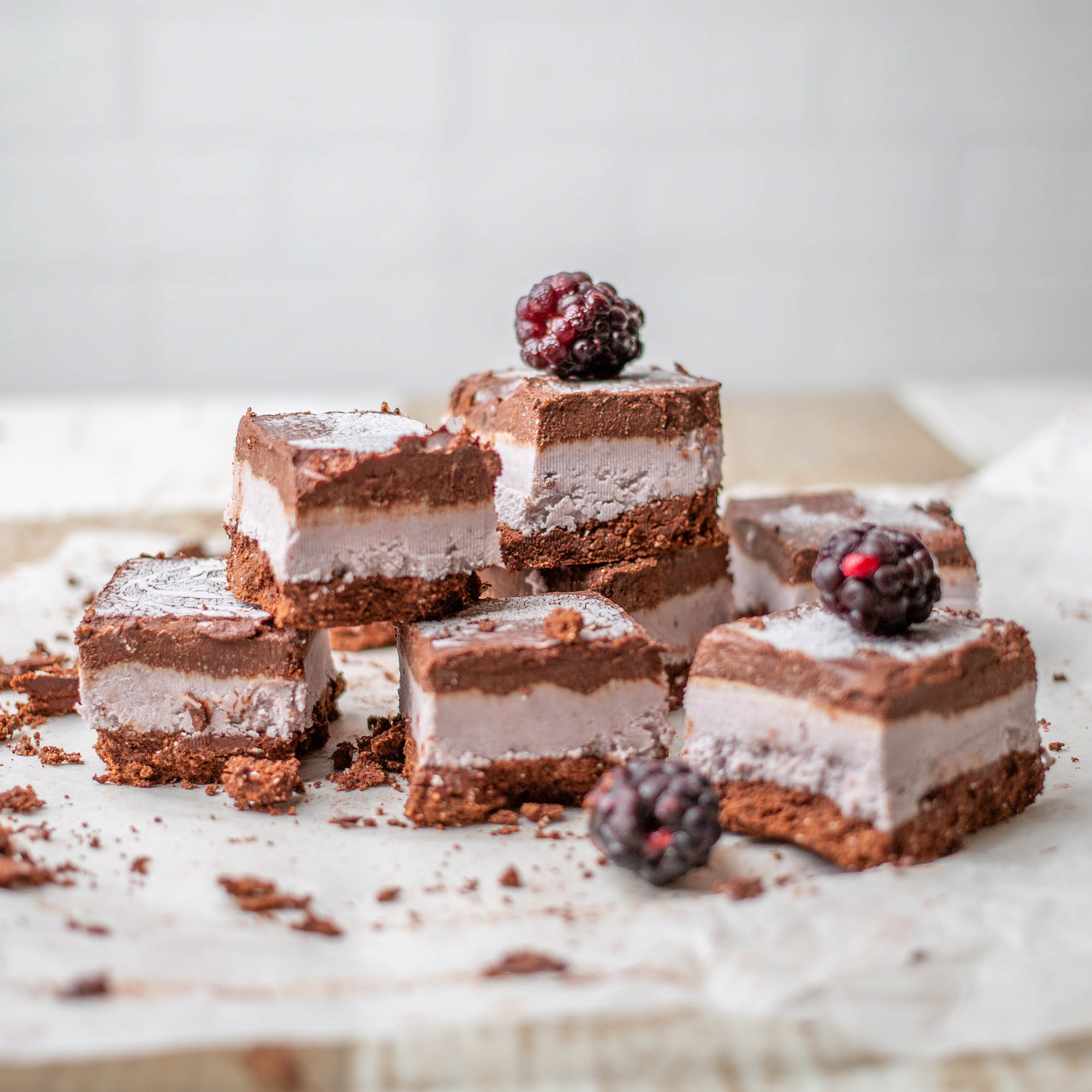 Vegan Chocolate Blackberry Ice Cream Sandwiches