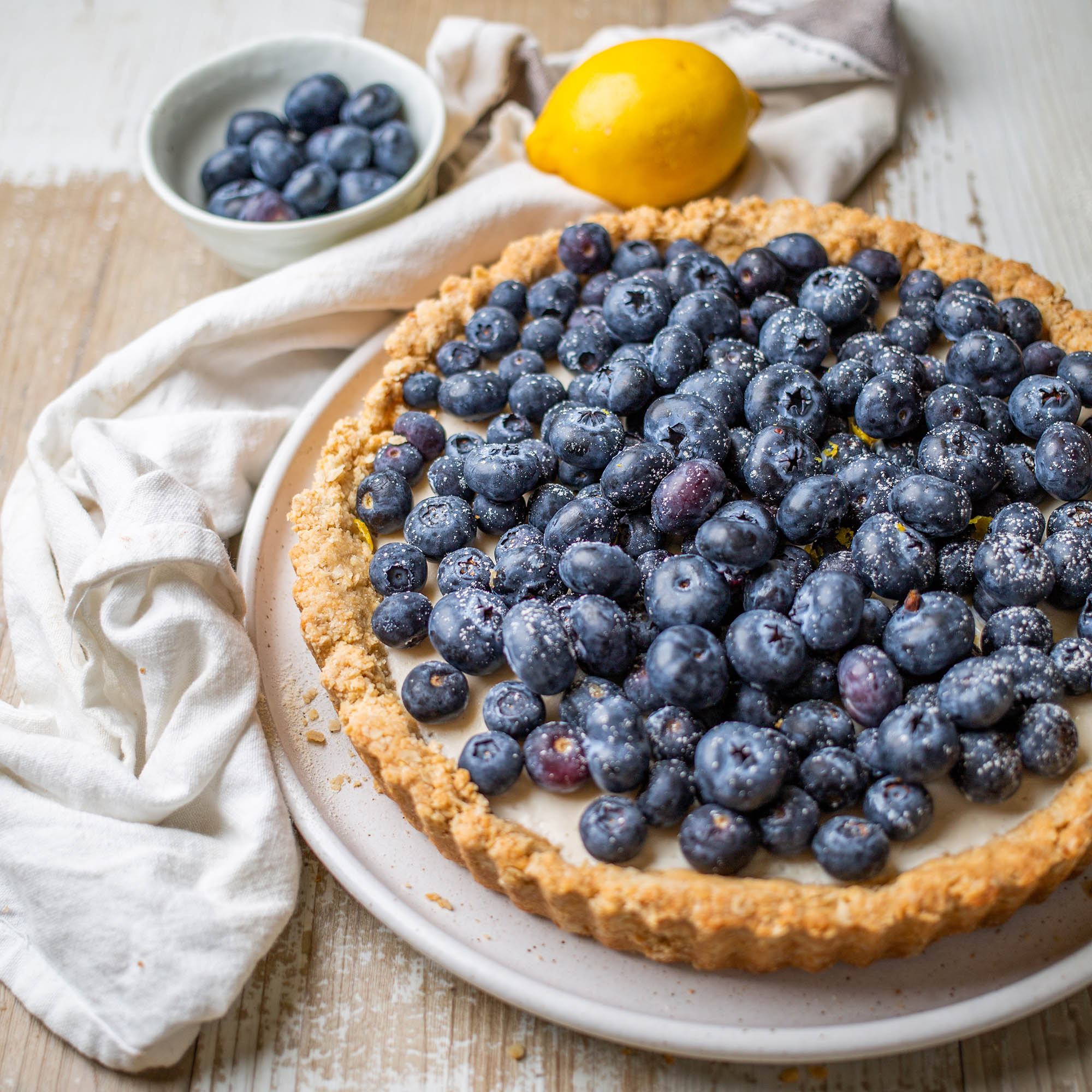 Vegan Blueberry Lemon Custard Tart