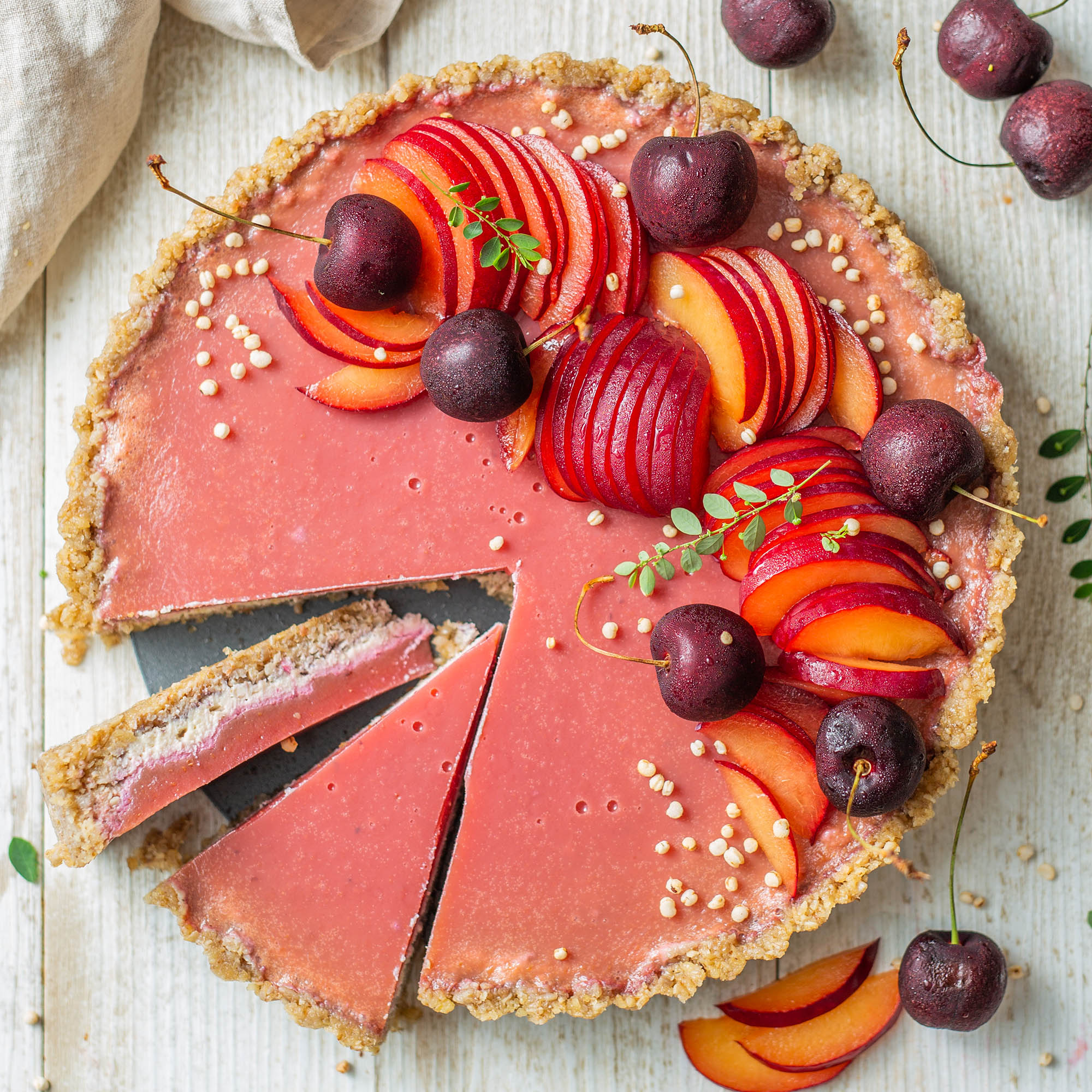 No-Bake Vegan Plum Vanilla Jelly Tart