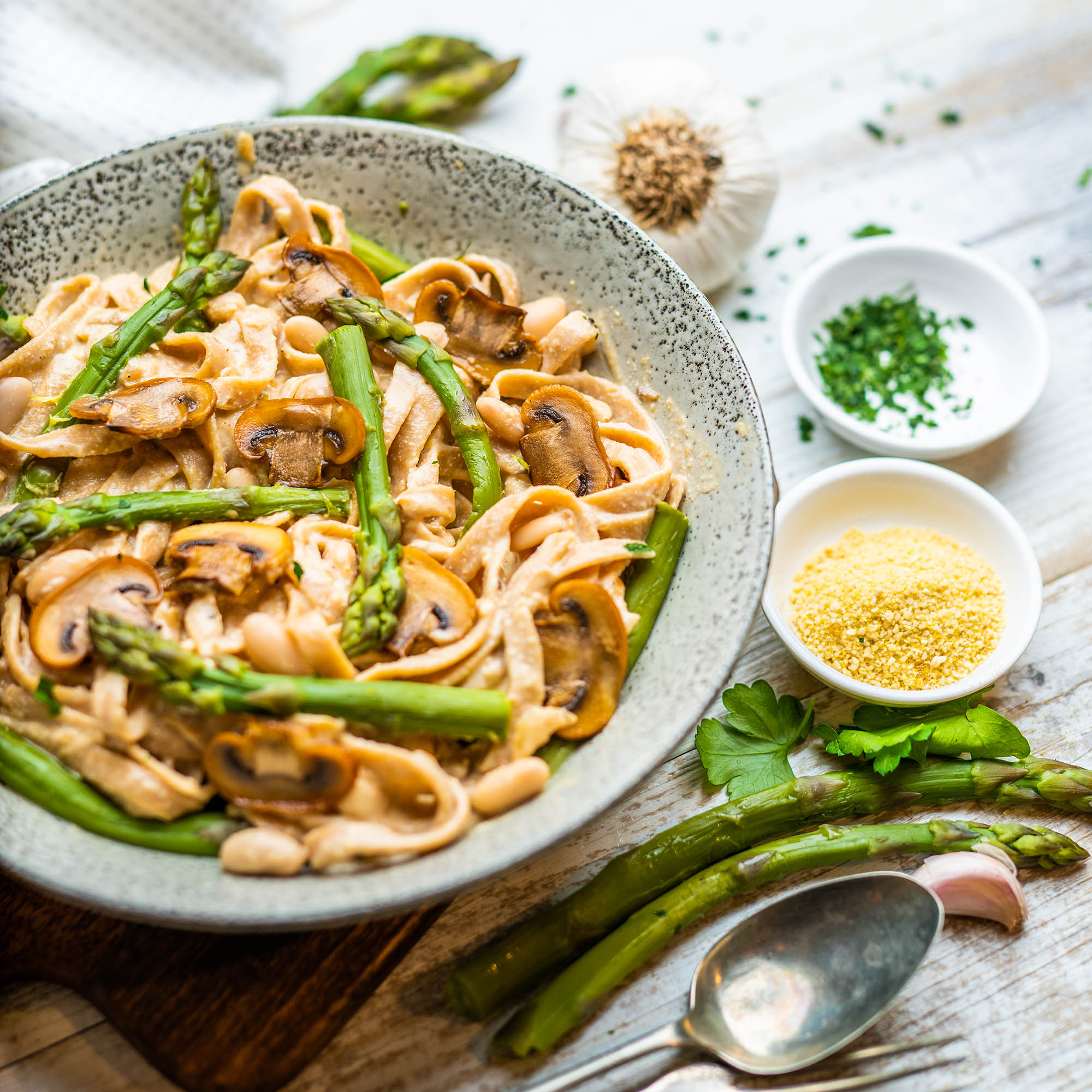 Creamy Vegan Mushroom Pasta with Steamed Greens and White Beans