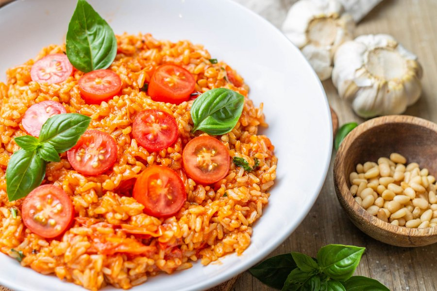 Vegan Cherry Tomato Brown Rice and Buckwheat Risotto