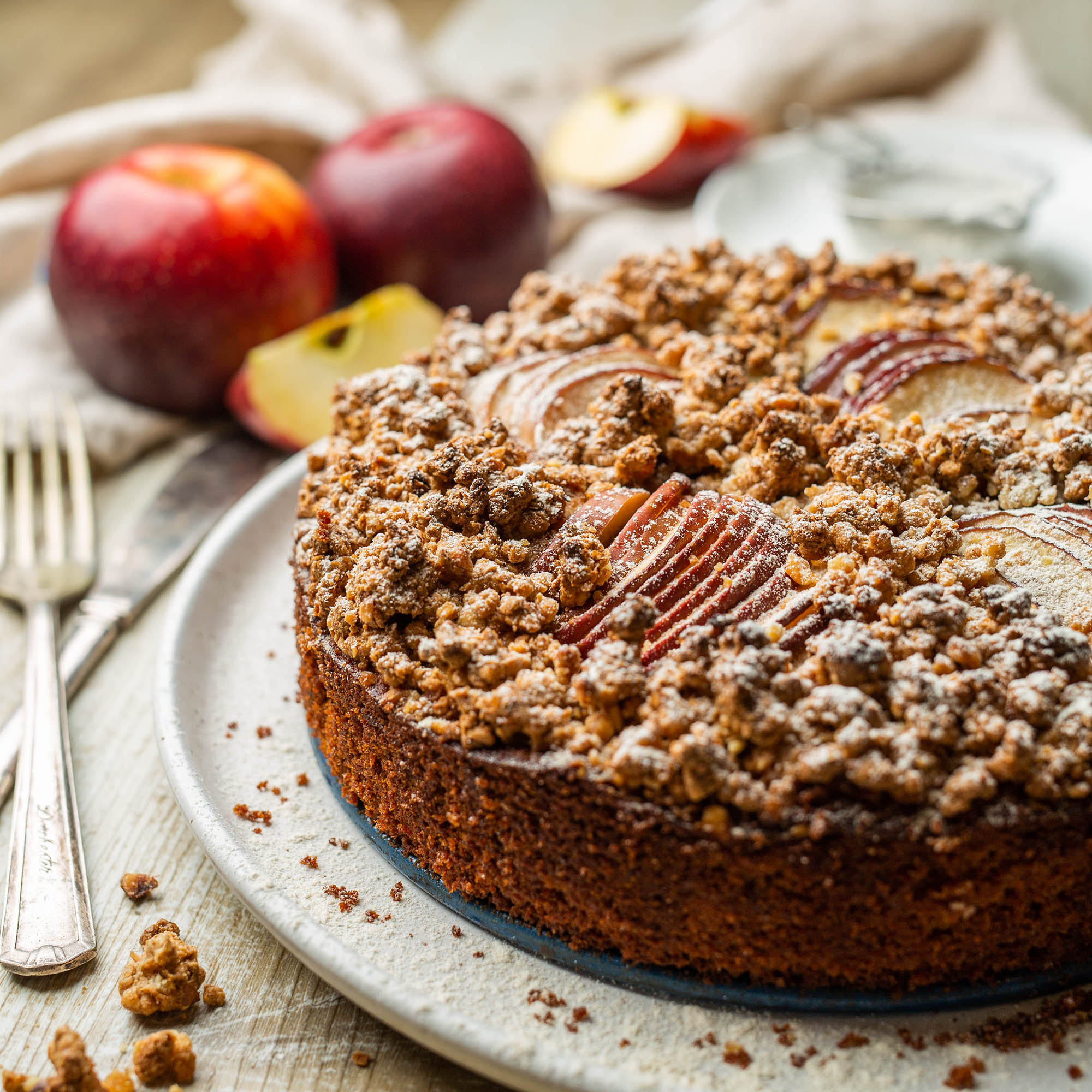 Vegan Apple Walnut Crumble Cake