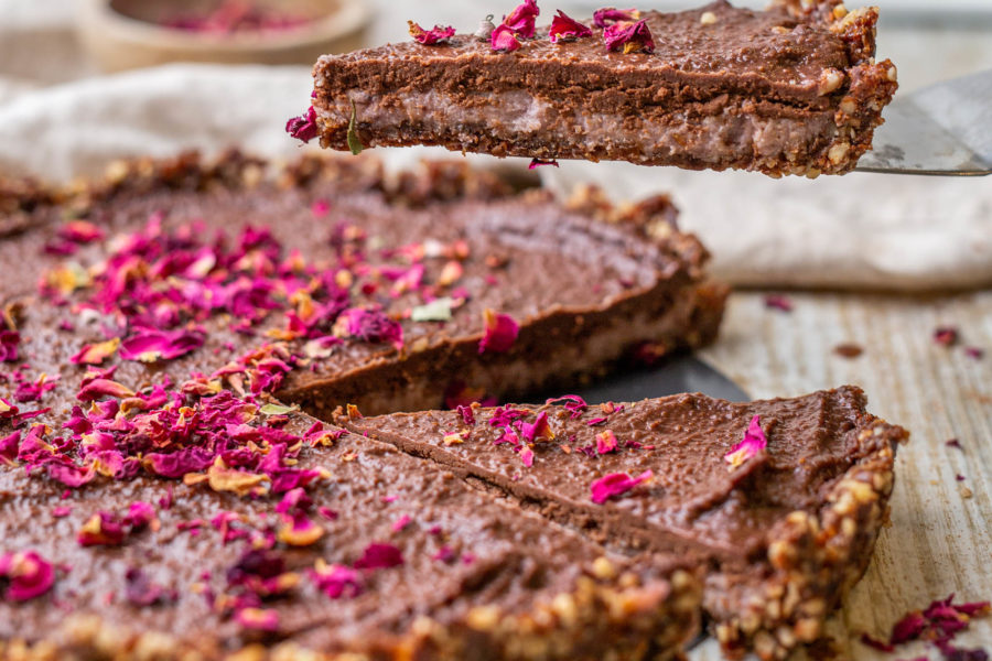 Raw Vegan Chocolate Rose Tart