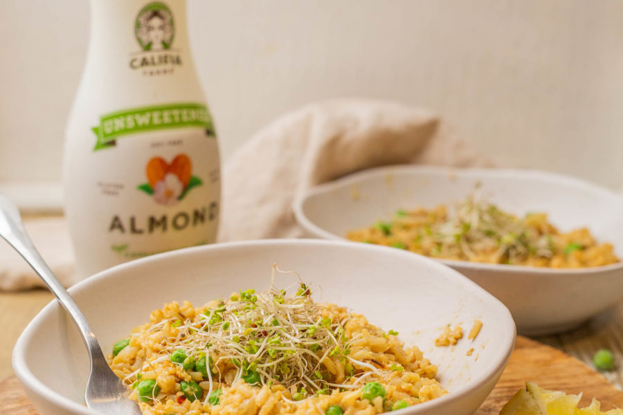 Creamy Green Pea and Lemon Almond Milk Risotto with Califia Farms Unsweetened Almond Milk