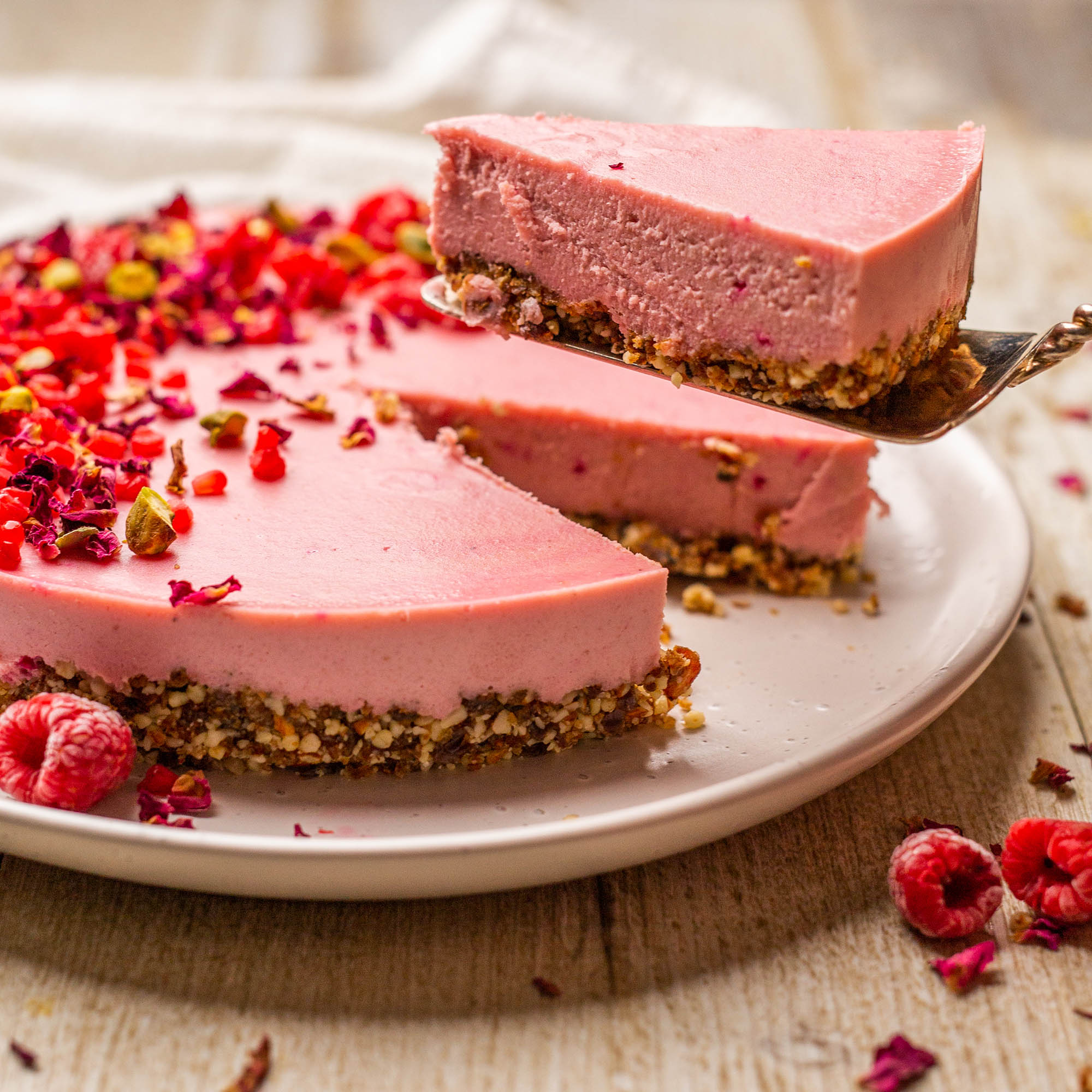 Vegan White Chocolate Pitaya Rose Cheesecake