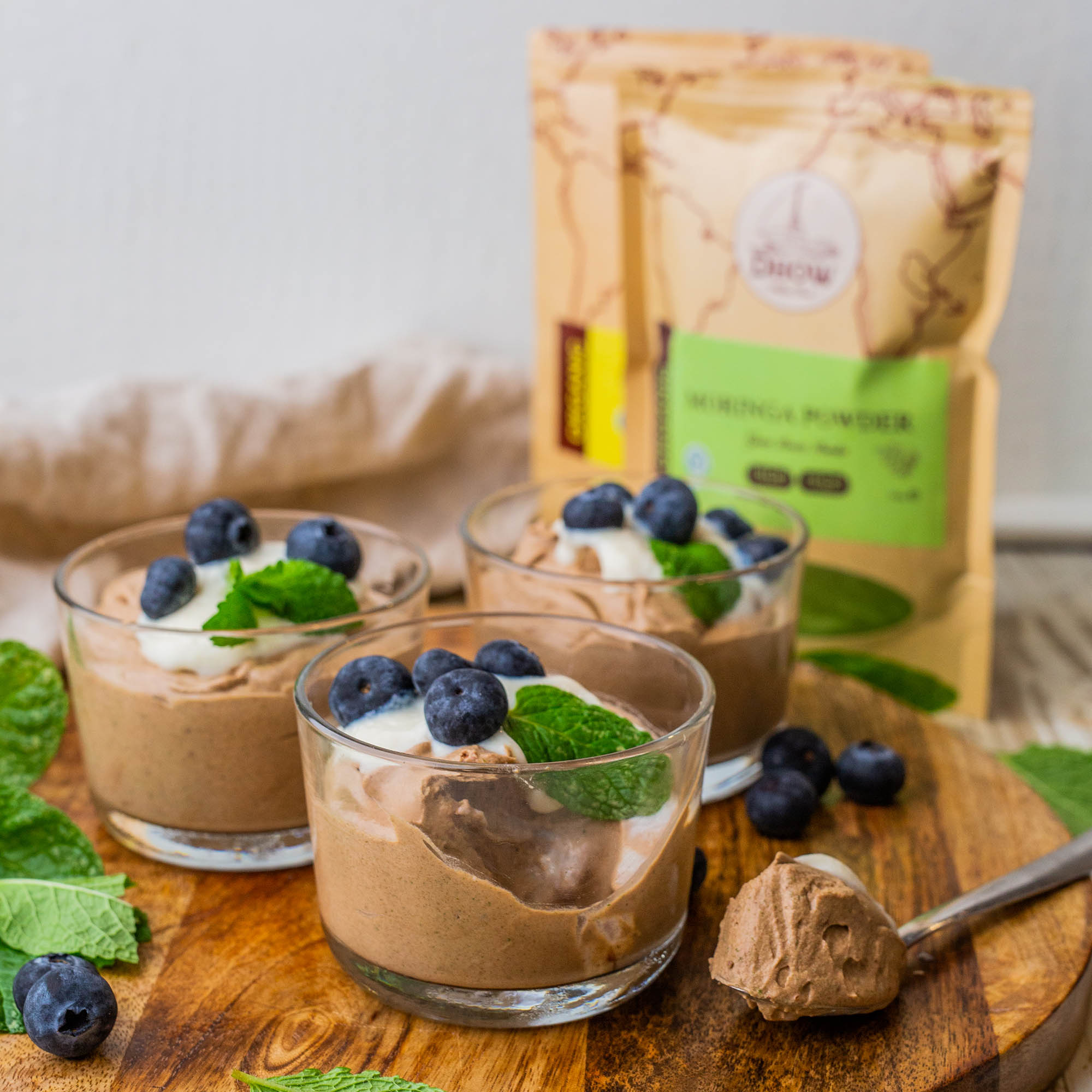 Vegan Moringa Peppermint Chocolate Mousse and Benefits of Moringa for Women