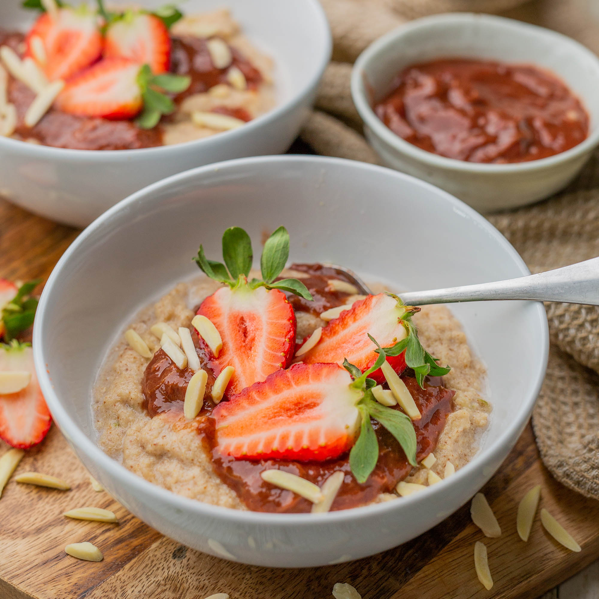 Amaranth Porridge with Stewed Rhubarb