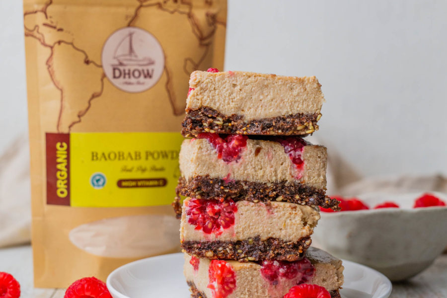 Baobab Fruit Powder for Natural PMS Relief with Vegan Peanut Butter Raspberry Boabab Cheesecake Slice